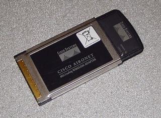 Karta WiFi PCMCIA Cisco Aironet CB21AG-E-K9, widok z góry.