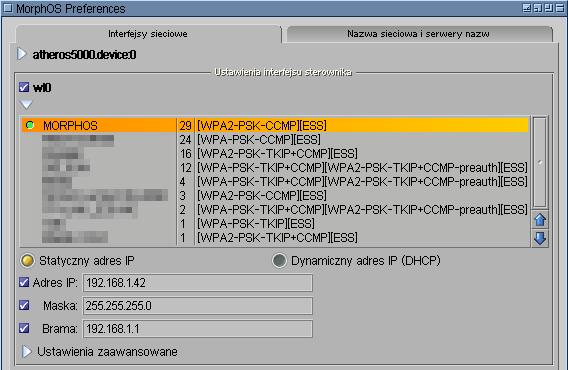 Konfiguracja interfejsu sieciowego wl0.