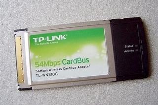 Karta WiFi PCMCIA TP-Link TL-WN310G, widok z góry.